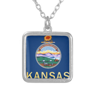 Flag Of Kansas Silver Plated Necklace