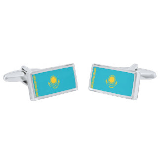 Flag of Kazakhstan Cufflinks Silver Finish Cuff Links