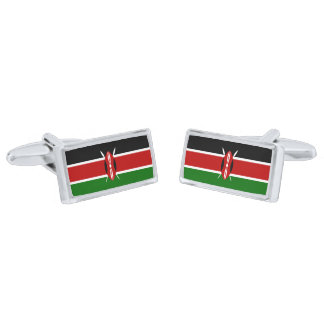 Flag of Kenya Cufflinks Silver Finish Cufflinks
