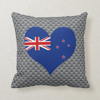 Flag of Kiwi on metal background Throw Pillow