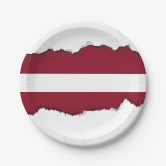 Flag of Latvia 7 Inch Paper Plate