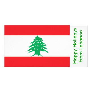 Flag of Lebanon, Happy Holidays from Lebanon Personalized Photo Card