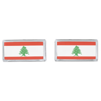 Flag of Lebanon Silver Finish Cufflinks