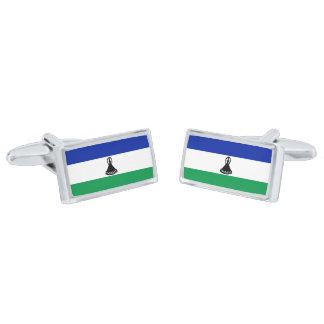 Flag of Lesotho Cufflinks Silver Finish Cufflinks