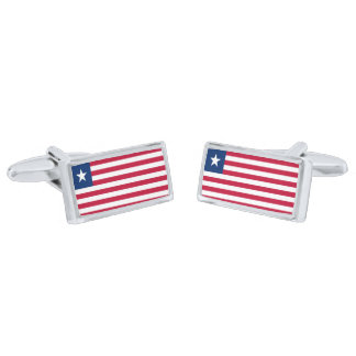 Flag of Liberia Cufflinks Silver Finish Cufflinks