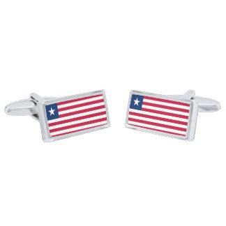 Flag of Liberia Cufflinks Silver Finish Cufflinks