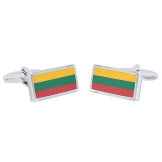 Flag of Lithuania Cufflinks Silver Finish Cufflinks