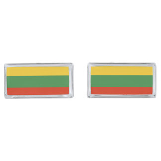 Flag of Lithuania Silver Finish Cufflinks