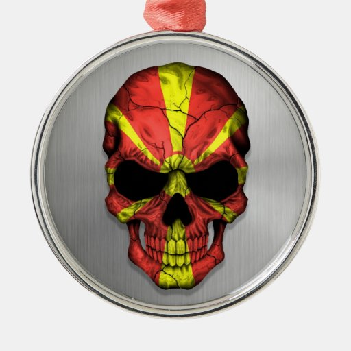 Flag of Macedonia on a Steel Skull Graphic Ornament