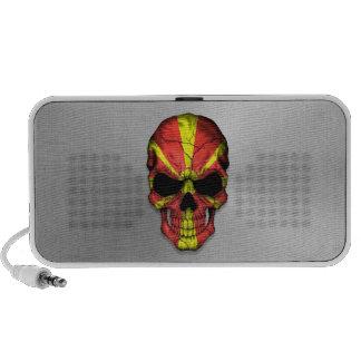 Flag of Macedonia on a Steel Skull Graphic Travel Speaker