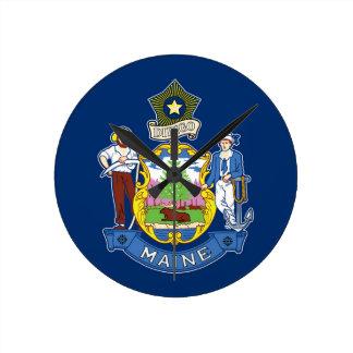 Flag Of Maine Round Clock