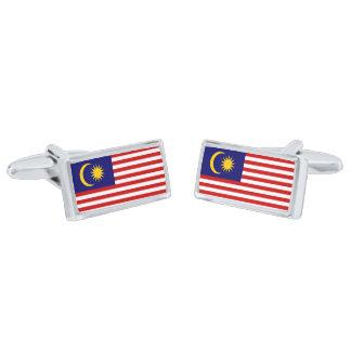 Flag of Malaysia Cufflinks Silver Finish Cuff Links