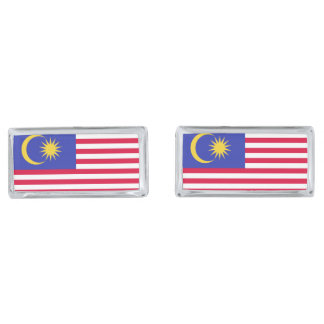 Flag of Malaysia Silver Finish Cufflinks