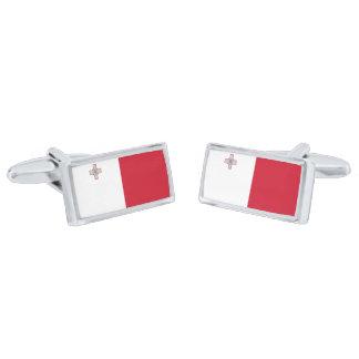 Flag of Malta Cufflinks Silver Finish Cuff Links