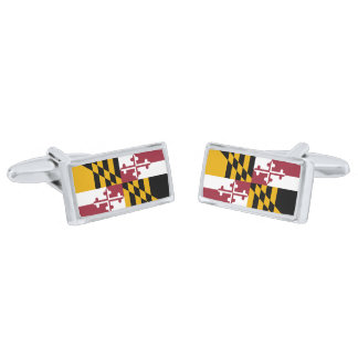 Flag of Maryland Cufflinks Silver Finish Cuff Links