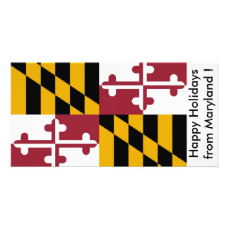 Flag of Maryland, Happy Holidays from U.S.A. Personalised Photo Card