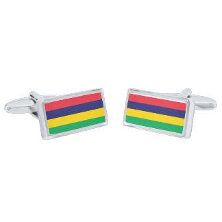 Flag of Mauritius Cufflinks Silver Finish Cuff Links