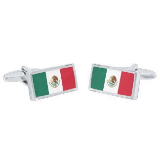 Flag of Mexico Cufflinks Silver Finish Cuff Links