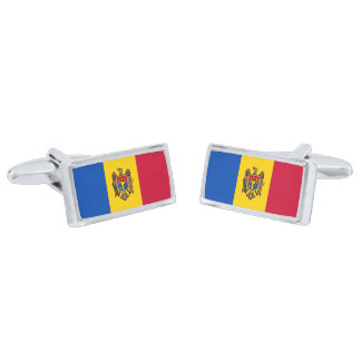 Flag of Moldova Cufflinks Silver Finish Cufflinks