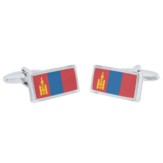 Flag of Mongolia Cufflinks Silver Finish Cuff Links