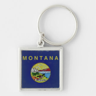 Flag of Montana Silver-Colored Square Key Ring