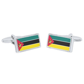 Flag of Mozambique Cufflinks Silver Finish Cuff Links