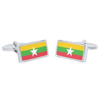 Flag of Myanmar Cufflinks Silver Finish Cufflinks