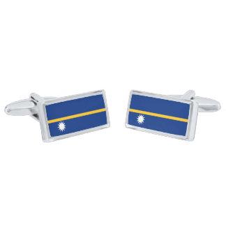 Flag of Nauru Cufflinks Silver Finish Cuff Links