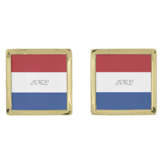 Flag of Netherlands Gold Finish Cuff Links