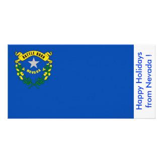 Flag of Nevada, Happy Holidays from U.S.A. Custom Photo Card