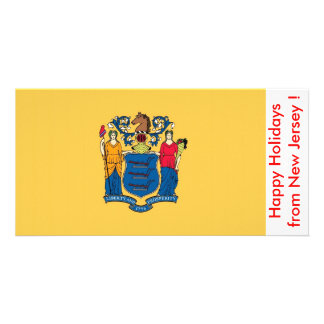 Flag of New Jersey, Happy Holidays from U.S.A. Personalized Photo Card