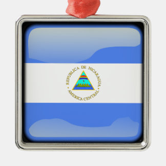Flag of Nicaragua Silver-Colored Square Decoration