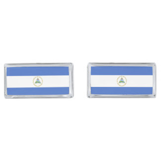 Flag of Nicaragua Silver Finish Cufflinks
