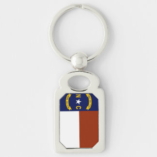 Flag of North Carolina Silver-Colored Rectangle Key Ring