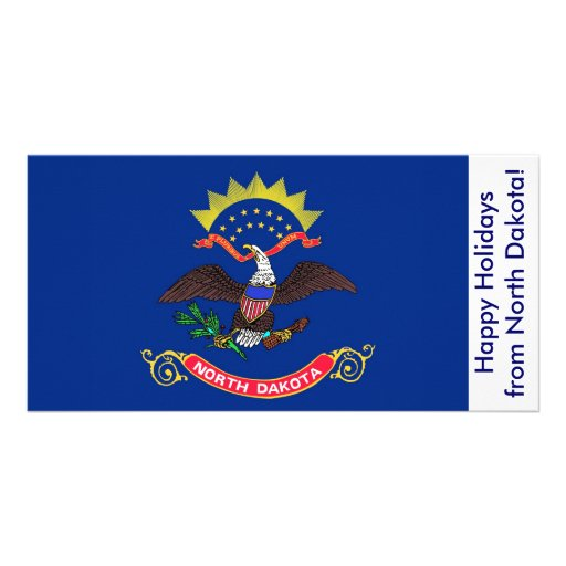 Flag of North Dakota, Happy Holidays from U.S.A. Picture Card