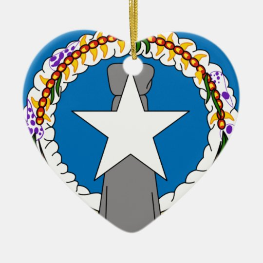 Flag Of Northern Mariana Islands (USA) Ceramic Heart Decoration
