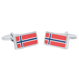 Flag of Norway Cufflinks Silver Finish Cufflinks