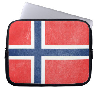 Flag of Norway Grunge Laptop Sleeve