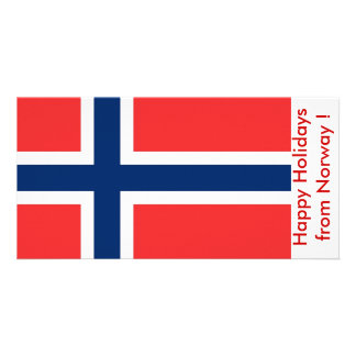 Flag of Norway, Happy Holidays from Norway Personalized Photo Card