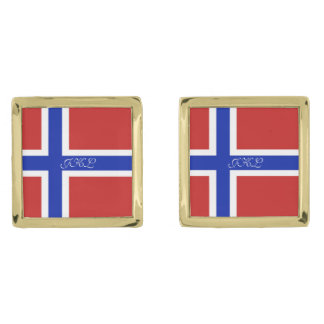 Flag of Norway Scandinavian Gold Finish Cufflinks