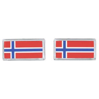 Flag of Norway Silver Finish Cufflinks