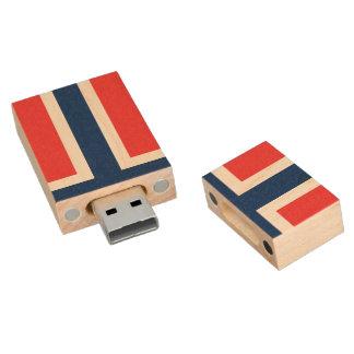 Flag of Norway Wood USB 2.0 Flash Drive