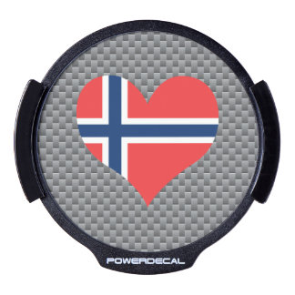 Flag of Norwegian on metal background LED Car Window Decal