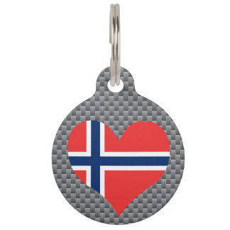 Flag of Norwegian on metal background Pet ID Tags