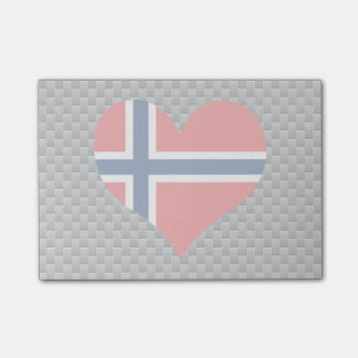 Flag of Norwegian on metal background Post-it® Notes