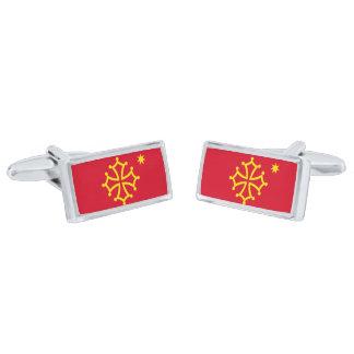 Flag of Occitania Cufflinks Silver Finish Cuff Links