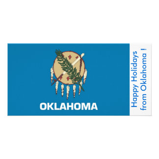 Flag of Oklahoma, Happy Holidays from U.S.A. Photo Greeting Card
