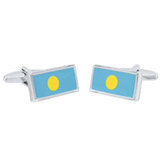 Flag of Palau Cufflinks Silver Finish Cuff Links