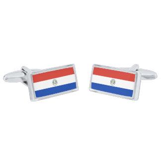 Flag of Paraguay Cufflinks Silver Finish Cufflinks