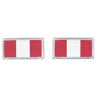 Flag of Peru Silver Finish Cuff Links